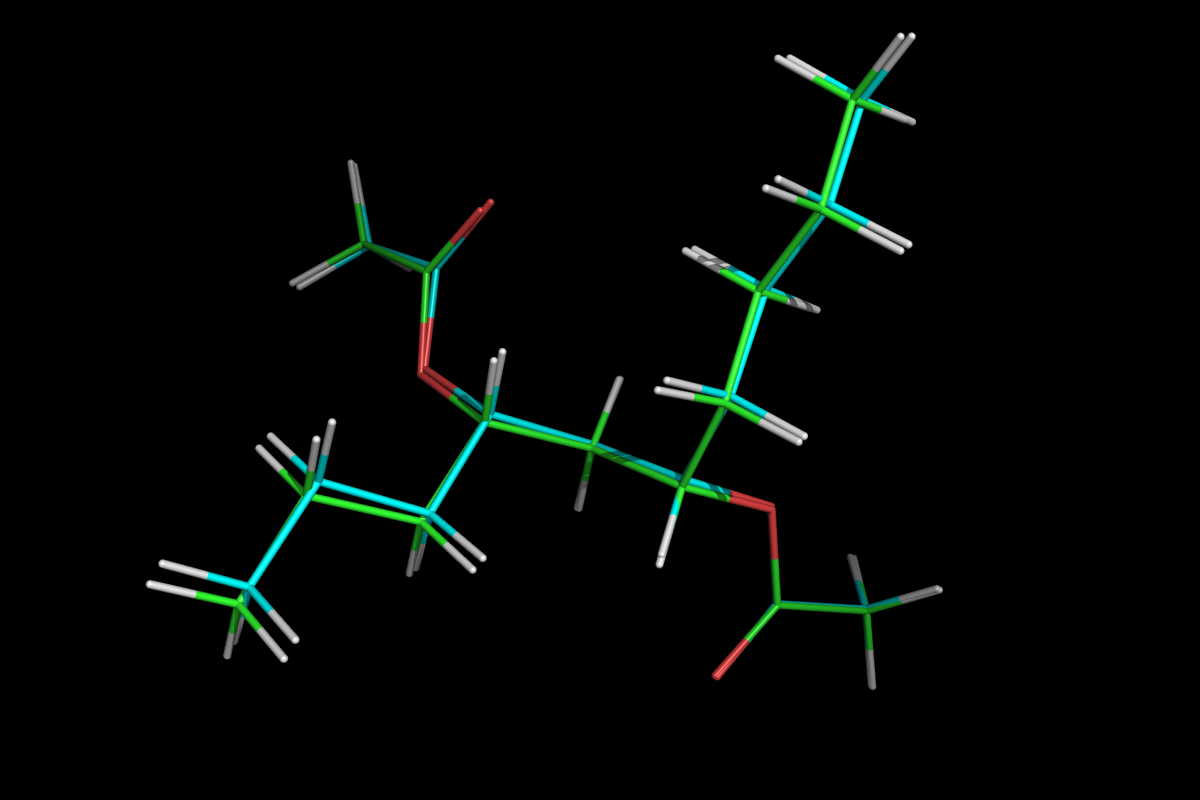 Superposition of QM optimised (green) and MM energy minimised (cyan) structures.<br>Click to toggle size.